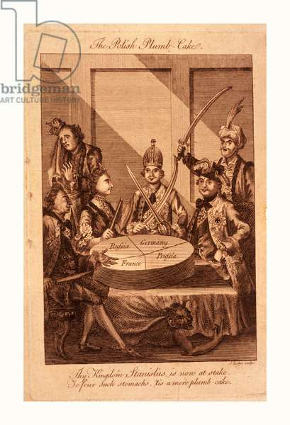 The Polish Plumb-Cake, Lodge, John, -1796, Engraving 1774, Leopold II and Frederick William II with Swords Drawn, Catherine II Holding a Cleaver, and Louis XV with a Knife Seated Around a Table on which Rests a Partitioned Cake, Representing Poland, Each Monarch Getting a Separate, But Not Equal Share; in the Background on the Left Stands a Weeping King of Poland, on the Right, with Sword Raised is the Sultan.