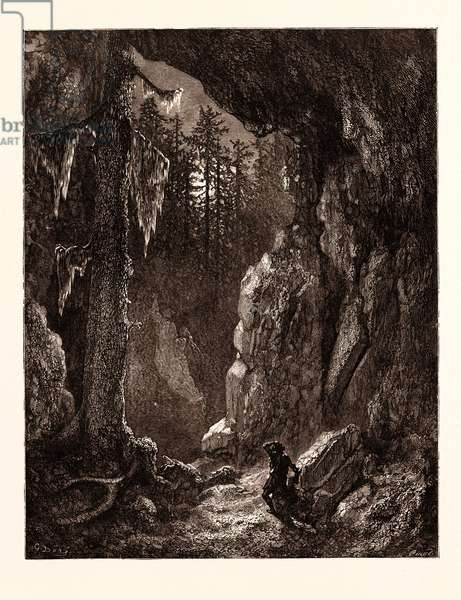Chactas Seeking for the Graves of Father Aubry and Atala, by Gustave Doré, 1832 - 1883, French. Engraving for Atala by Chateaubriand. 1870, Art, Artist, Romanticism, Colour, Color Engraving