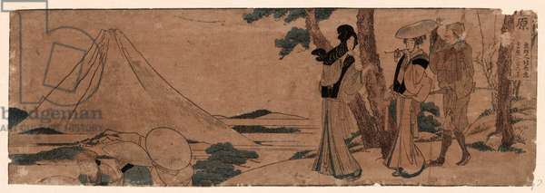 Hara, Katsushika 1804., 1 Print : Woodcut, Color ; 11.4 X 34 ., Print Shows Two Women and a Man Walking behind a Group of Travelers on the Tokaido Road, with Mount Fuji in the Distance.