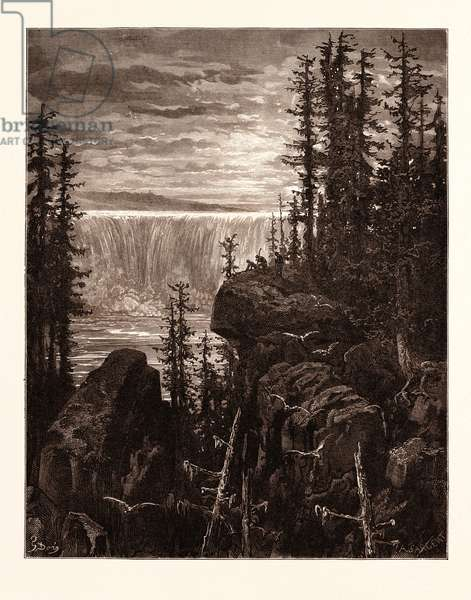 The Falls of Niagara, by Gustave Doré, 1832 - 1883, French. Engraving for Atala by Chateaubriand. 1870, Art, Artist, Romanticism, Colour, Color Engraving