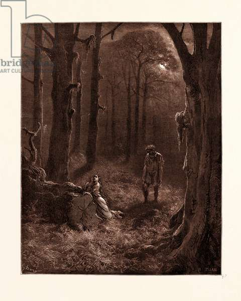 The Lovers in the Moon-Lit Forest, by Gustave Dore, 1832 - 1883, French. Engraving for Atala by Chateaubriand. 1870, Art, Artist, Romanticism, Colour, Color Engraving