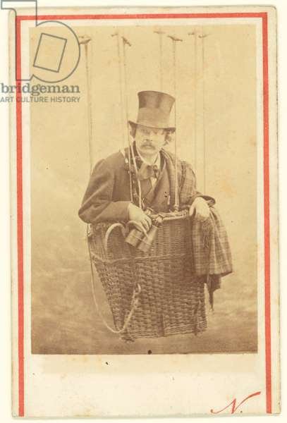 [Felix Nadar in Gondola of a Balloon]; Nadar [Gaspard Felix Tournachon], French, 1820 - 1910; about 1863; Albumen silver; Image: 7.9 x 5.6 cm (3 1/8 x 2 3/16 in.), Mount: 9.8 x 6.5 cm (3 7/8 x 2 9/16 in.) -  ©QuintLox/Leemage