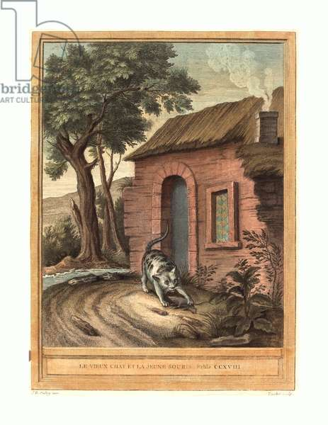 Johann Christoph Teucher after Jean-Baptiste Oudry (German, c. 1715 - 1763 or after ), Le vieux chat et la jeune Souris (The Old Catand the Young Mouse), published 1759, hand-colored etching, Gift of Mr. and Mrs. George W. Ware ©LisztCollection/Leemage