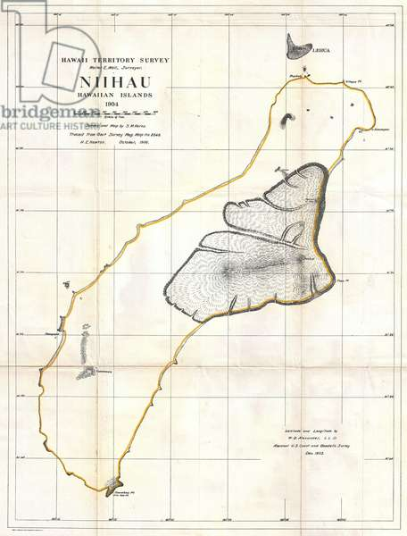 1904, Land Office Map of Niihau, Hawaii ©QuintLox/Leemage