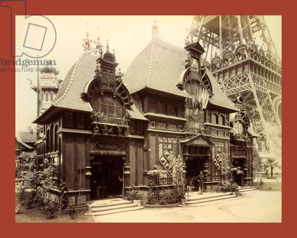 Pavilion of Nicaragua and Base of the Eiffel Tower, Paris Exposition, 1889