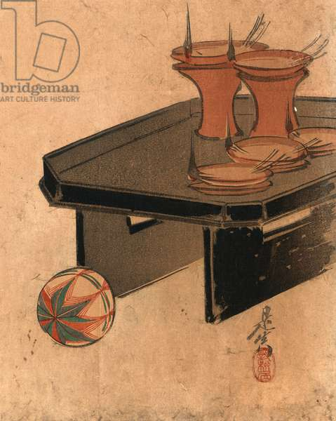 Otomyo, Oil Lamps. [Between 1868 and 1890], 1 Print : Woodcut, Color ; 24.9 X 19.8 ., Print Shows Oil Lamps on a Tray and a Ball.