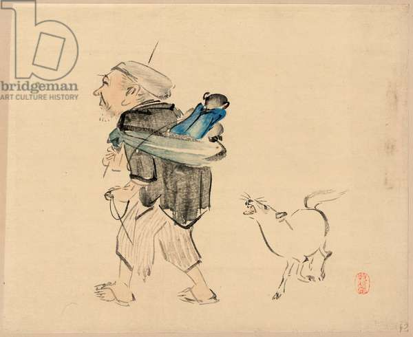 Saruhiki to Inu, Monkey Trainer and a Dog. [Between 1880-1900], 1 Print : Woodcut, Color ; 28.7 X 35.5 ., Print Shows an Old Man Carrying a Monkey on His Back and a Dog Barking at the Monkey.