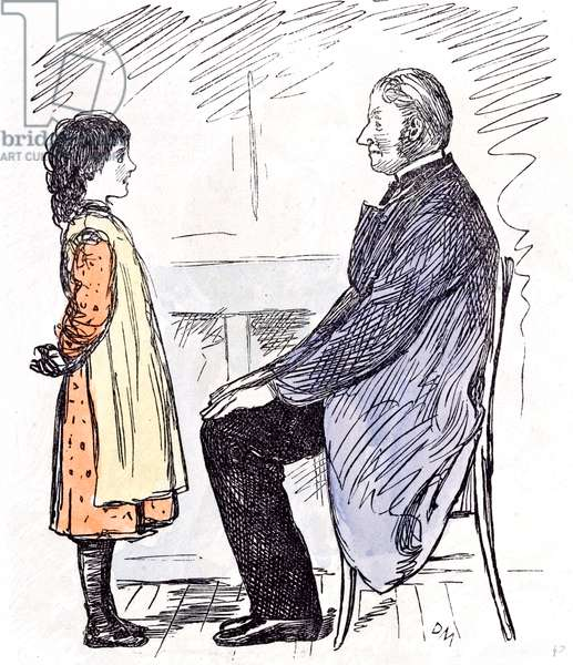 The Girl and the Headmaster, 1873 (colour litho)