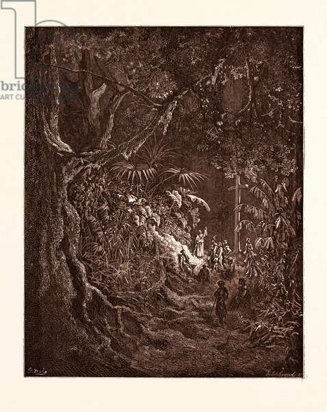 The Hermit Preaching in the Woods, by Gustave Dore, 1832 - 1883, French. Engraving for Atala by Chateaubriand. Romanticism, Colour, Color Engraving