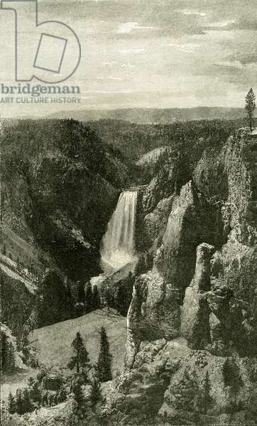 The Lower Falls and the Canon of the Yellowstone from Point Lookout 1891 USA