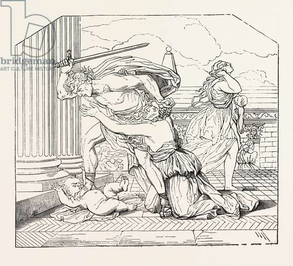 Massacre of the Innocents by Nicolas Poussin: Painting. Engraving 1855