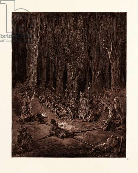 Chactas a Captive, by Gustave Dore. Chactas Captured by Muscogulges and Siminoles. Dore, 1832 - 1883, French. Engraving for Atala by Chateaubriand. 1870, Art, Artist, Romanticism, Colour, Color Engraving