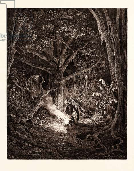 The Camp Fire of Atala and Chactas, by Gustave Doré, 1832 - 1883, French. Engraving for Atala by Chateaubriand. Romanticism, Colour, Color Engraving
