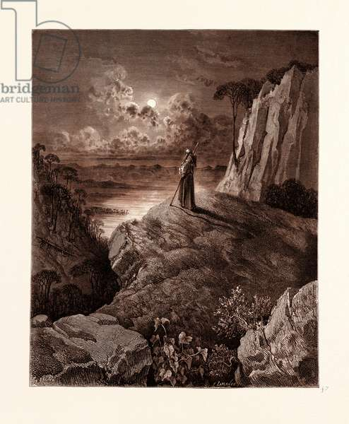 The Hermit on the Mountain, by Gustave Dore,  1832 - 1883, French. Engraving for Atala by Chateaubriand. 1870, Art, Artist, Romanticism, Colour, Color Engraving