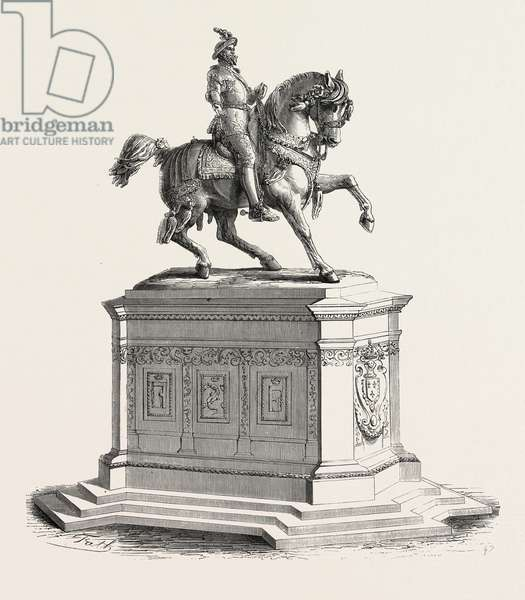 Equestrian Statue of Francis I to the Court of the Louvre, 1855. Engraving