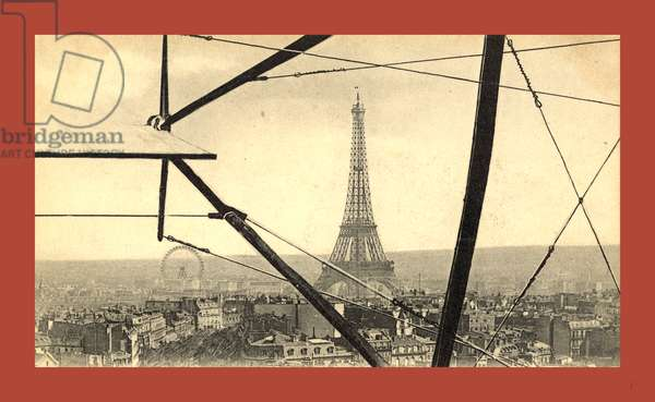 An Aerial View of the Eiffel Tower in Paris, Seen Through the Framework of a Biplane, France, Between 1904 and 1914, E. Neurdein