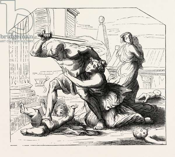 Massacre of the Innocents by Nicolas Poussin: Primitive  Sketch. Engraving 1855