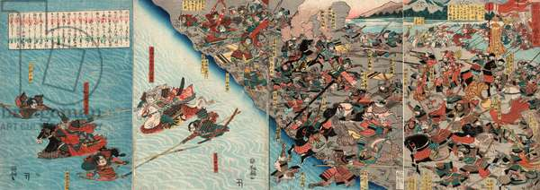 Shinshu Kawanakajima Og[K?]Assen, the Great Battle at Kawanakajima in Shinshu. [Between 1844 and 1848], 1 Print (4 Sheets) : Woodcut, Color ; 35 X 24.1  (Left Panel), 34.3 X 24  (Center Left Panel), 34.4 X 23.8  (Center Right Panel), 35.1 X 24.5  (Right Panel), Print Shows Battle Scene (Probably from the 4th Battle in 1561) on the Plains at the Chikuma River.