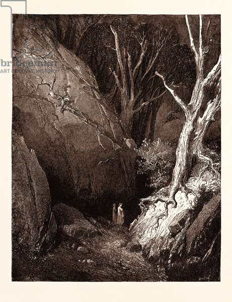 Dante and His Guide, by Gustave Doré, 1832 - 1883, French. Engraving for the Inferno by Dante. Wood Engraving by Boetzal after Dore, with Both Signatures in the Print, 1870, Romanticism, Colour, Color Engraving