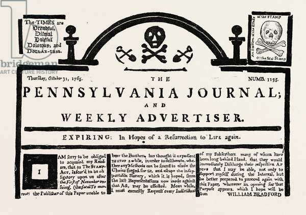Facsimile of the  Pennsylvania Journal  on the Stamp Act. American Historical and Literary Curiosities, US, USA, 1870s Engraving