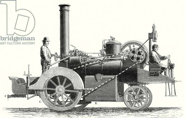 Traction Engine or Steam Car Invented by M. Lotz from Nantes
