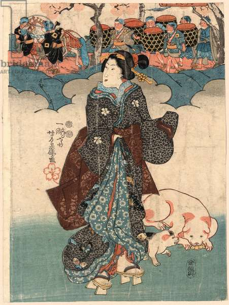 Kodomo Gyoretsu to Fujin, a Lady and a Children's Procession. [Between 1845 and 1854], 1 Print : Woodcut, Color ; 34.6 X 25.9 ., Print Shows a Woman, Full-Length, Standing with Two Dogs, Facing Left, Wearing Geta, Apparently Dreaming of a Procession with Several Men Carrying Large Pots or Drums.
