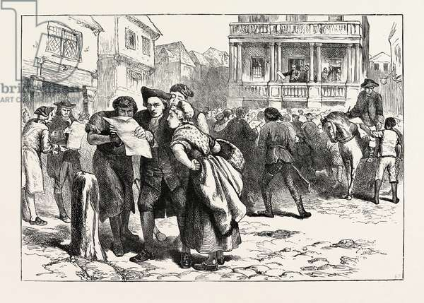 Bostonians Reading the Stamp Act,USA, 1870s Engraving