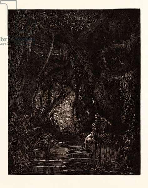 The Deep Mid-Forest, by Gustave Doré, 1832 - 1883, French. Engraving for Atala by Chateaubriand. 1870, Art, Artist, Romanticism, Colour, Color Engraving