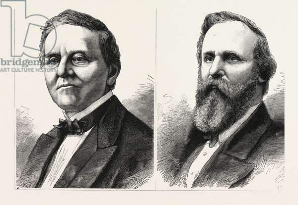 The Presidental Contest in America, Samuel Tilden, the Democratic Candidate and Rutherford Hayes, the Republic Candidate, Engraving 1876, US, USA, America, United States
