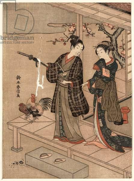Engawa No Wakai Danjo, Young Dandy and a Beauty on a Veranda. [Between Ca. 1750 and 1770, Printed Later], 1 Print : Woodcut, Color ; 28.2 X 20.8 .