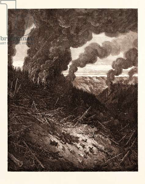 The Fire in the Forest, by Gustave Doré, 1832 - 1883, French. Engraving for Atala by Chateaubriand. 1870, Art, Artist, Romanticism, Colour, Color Engraving