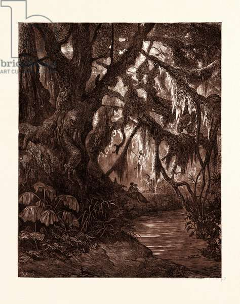 The Rest in the Forest, by Gustave Dore, 1832 - 1883, French. Engraving for Atala by Chateaubriand. 1870, Art, Artist, Romanticism, Colour, Color Engraving