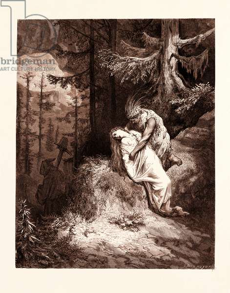 The Burial of Atala, by Gustave Dore, 1832 - 1883, French. Engraving for Atala by Chateaubriand. 1870, Art, Artist, Romanticism, Colour, Color Engraving