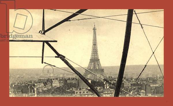 An aerial view of the Eiffel Tower in Paris, seen through the framework of a biplane, France, between 1904 and 1914, E. Neurdein ©LisztCollection/Leemage