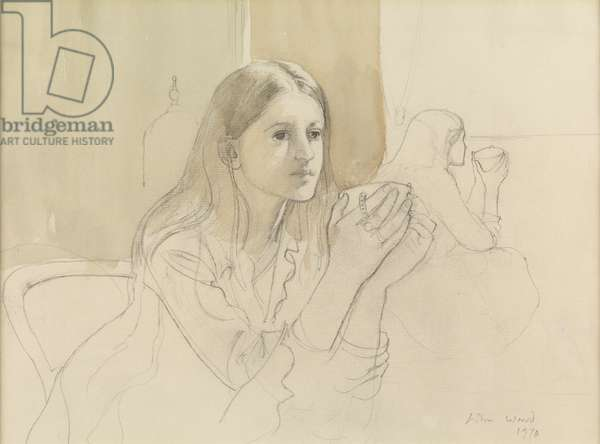 Girl with Teacup, 1970 (pencil with wash on paper)