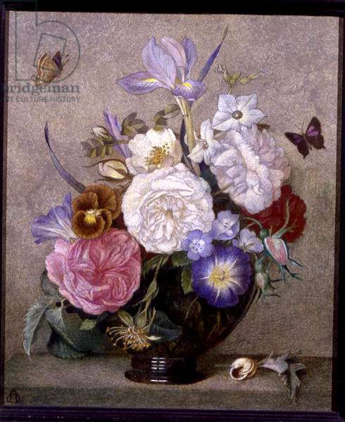 Flowers in a Bowl (tempera on panel)