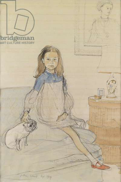Girl and Her Dog, 1974 (w/c & pencil on paper)