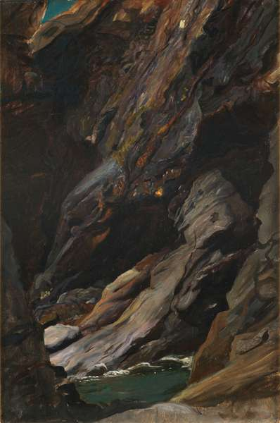 Rocks at Tintagel (oil on canvas)