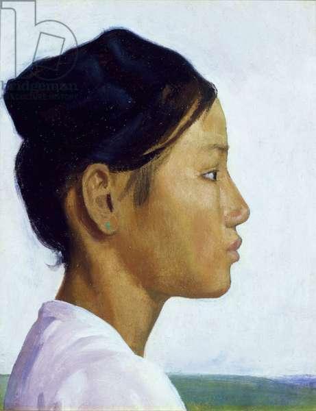Head Study of a Burmese Girl (oil on panel)