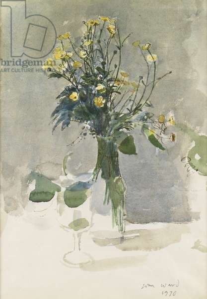 Flowers in a Vase, 1970 (w/c on paper)