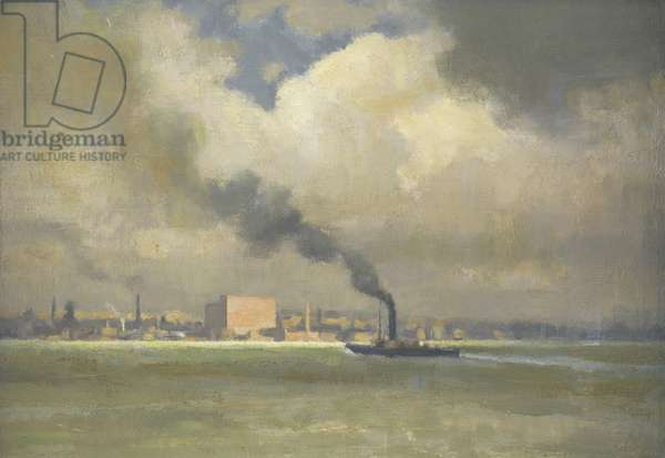 Liverpool, with Steamship Passing, 1918 (oil on board)