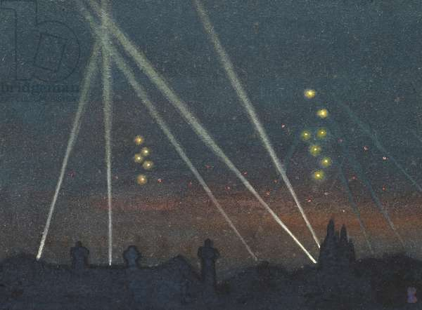 Searchlights During a Bombing Raid (w/c on paper)