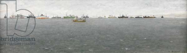 Shipping in the Solent (oil on board)
