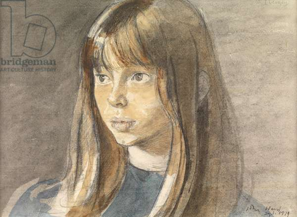 Head of a Girl, 1974 (watercolour on paper)
