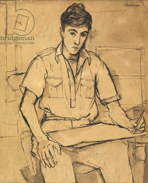 Self portrait, 1950 (pen & ink and wash on paper)