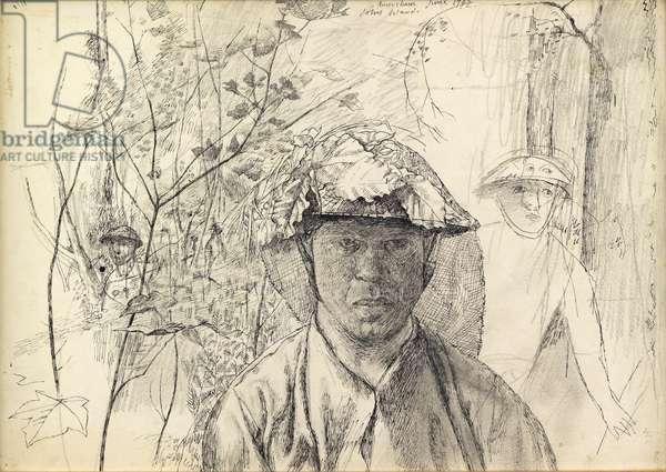 Self-Portrait on National Service, 1942 (pencil, pen & ink on paper)
