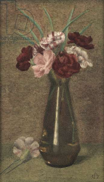 Still Life with Roses and Carnations in a Vase (w/c on paper)