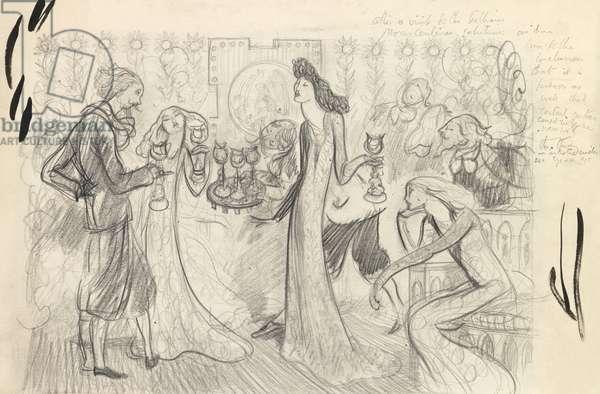 The Pre-Raphaelite Cocktail Party (pencil on paper)