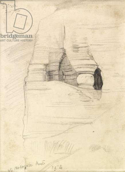 Rocks at Wady Zuara, the Dead Sea, 1854 (pencil on paper)