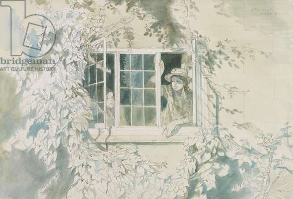 Celia and Charlotte at the Window, Bilting, October 1971 (w/c with pencil)